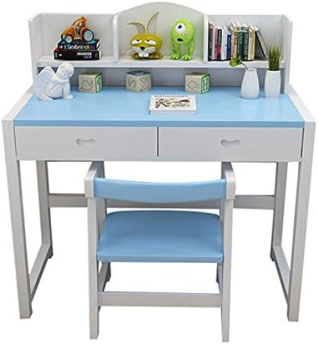 Kinderarbeits-Tabelle und Stuhlkombinationsausgangsaufzugstabellestudenten-Massivholzschreibtisch-Bücherregalleseschreibtisch-Studentenschreibtisch ( Farbe   Blau , Größe   1005075CM(391929IN) )