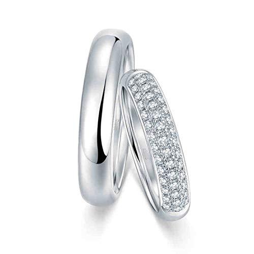 Aeici Bague Or Blanc Alliance 18 Carats Anneaux Mariage Couple Poli avec Trois Rangées de Diamants Argent Femme 55 & Homme 62.5