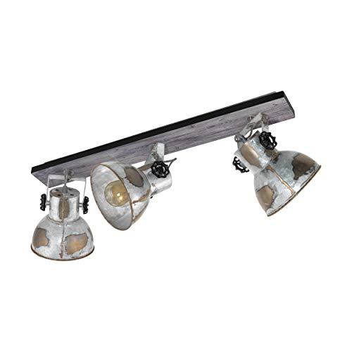 EGLO Deckenlampe Barnstaple, 3 flammiger Vintage Deckenspot im Industrial Design, Retro Wandspot aus Stahl im Zink Used-Look, Holz, Farbe: braun-Patina, schwarz, Fassung: E27