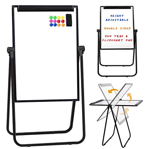 Dry Erase Boards with U Stand - 28x40 Height Adjustable White Board with Flip Chart Holder and Pen Tray for Kids & Adult, 360° Rotating Magnetic Whiteboard Easel for Office School Outdoor
