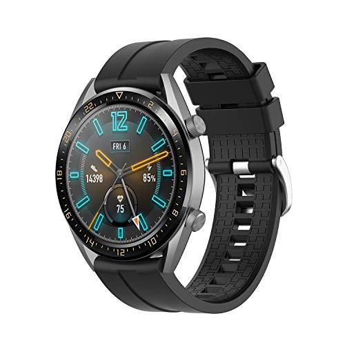 Armband für Huawei Watch GT/GT2 46mm/GT 2e/GT Active Uhrenarmband Silikon Wasserdicht Sport Armbänder Ersatz Uhrband für Herren für Honor Magic Watch 2 46mm/Huawei Watch 2 Classic (22mm, Schwarz)