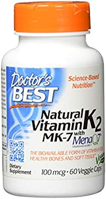 Doctor's Best, Natural Vitamin K2 MK7 with MenaQ7, 100mcg, 60 vegan Caps, soy-free, gluten free