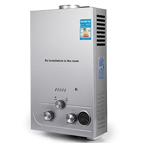 BananaB 8L Erdgas Warmwasserbereiter LNG 16KW 2.1GPM Natural Gas Water Heater Edelstahl Durchlauferhitzer mit Duschkopf