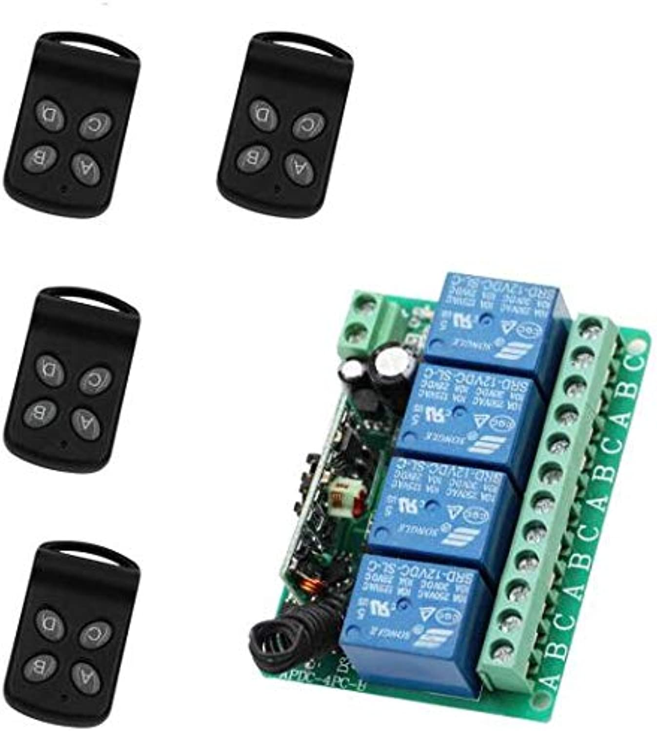 New DC12V 4CH Relay RF Radio Remote Lighting Switch Receiver & 14 pcs Butterfly Transmitter Momentary Toggle Latched Adjusted  (color  4Remote 433Mhz)