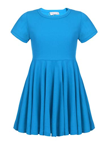 Arshiner Little Girls Short Sleeve A Line Casual Skater Dress Dark Blue 160(Age for 14-15Y)