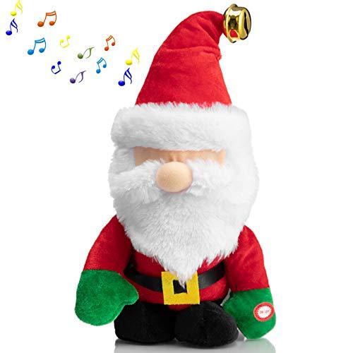 HollyHOME Animated Christmas Toys Santa Claus Plush Walking and Singing Santa Plush Holiday Decoration for Kids 10 Inch
