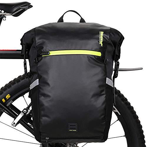 Rhinowalk Borsa da Bici Posteriore 25L, Bike Bag Bici Grande capacità Bicicletta Pannier Bag Impermeabile per Mountain Bike Bicicletta Ciclismo MTB (Nero)