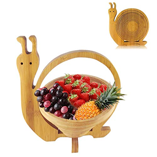 Cesta Plegable para Frutas De Bambú Frutero De Pie Madera con Un...