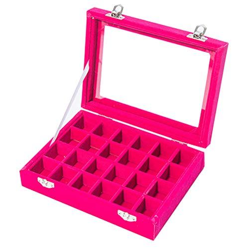 XIAOLI Caja De Almacenamiento De Joyería De Vidrio De Terciopelo Caja De Joyería Portátil Anillo Pendientes Pendientes Pulsera Caja De Exhibición De Joyería Bandeja(Size:24 Blocks,Color:Rosa)