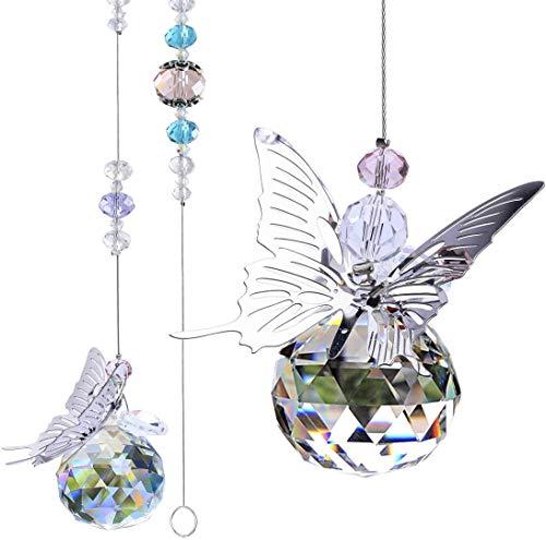 rainday 2 Stück 30 mm Kristallkugel-Sonnenfänger mit Prisma, Schutzengel, Regenbogenmacher zum Aufhängen, Sonnenfänger, Fenster, Schmetterling, Dekoration, Geschenk für Heimdekoration