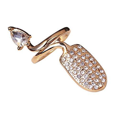 Strass ongle anneau ongles cap couverture doigt art joint charme pour la fête d'halloween, or