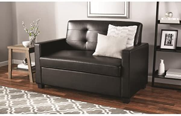 Mainstays Sleeper Sofa With CertiPUR US Certified Memory Foam Mattress Black Faux Leather