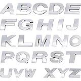 ISKYBOB Alphabet 3D Autocollants de Voiture en Métal, 26 Lettres Anglais Auto-adhésifs Logo Décalque pour Auto Chrome Emblem Inscriptions Decoration