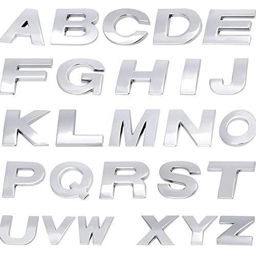 MAXGOODS Set von 26 Alphabet Buchstaben Aufkleber Silber Metall Auto Aufklebere 3D Emblem Abzeichen A-Z Englisch Buchstaben