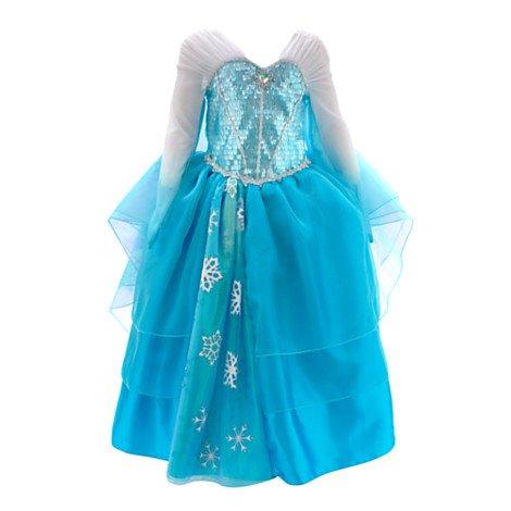 Robe de déguisement pour enfants Elsa de La Reine des Neiges - (Ce modèle de luxe comporte des manches en forme d'ailes, un corsage à strass et des volants en tulle brillant ornés de flocons de neige pailletés) (4 ans)