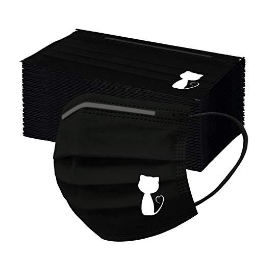 Writtian 50 Stück Einweg 3 lagig Mundschutz, Motiv schwarz Atmungsaktive Multifunktionstuch Bandana Halstuch Schals für Unisex Erwachsene Halstuch Mund-Tuch Damen Herren