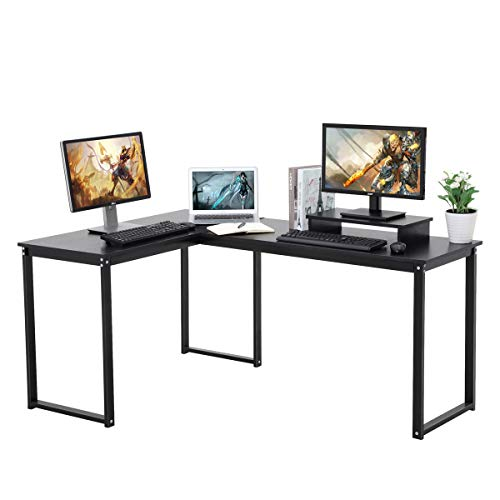 Computer Desk, LASUAVY L-Shaped Large Corner PC Laptop Study Table Workstation Gaming Desk for Home and Office - Free Monitor Stand - Wood & Metal - Black Wood Grain