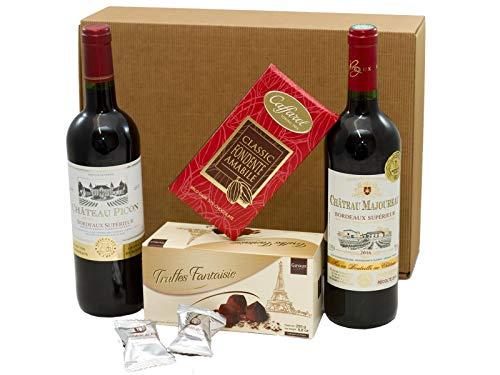 Geschenkset französische Genüsse | 2 x französischer Rotwein (Bordeaux) trocken | Schokoladen-Trüffel | Zartbitterschokolade | 2 x Feigen in Schokolade