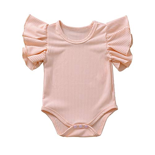 iddolaka Newborn Infant Baby Girl Solid Ruffle Romper Bodysuit Jumpsuit Casual Clothes One Piece Outfit (Pink, 0-3M)