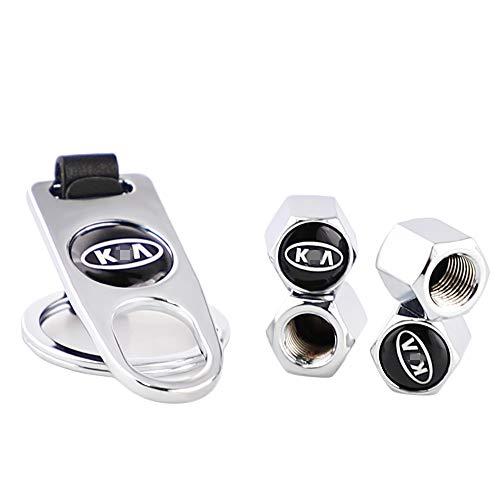 4 tapas de válvula de neumático a prueba de fugas tapas de válvula de rueda tapas de polvo con una llave llavero tapas de aire para llantas de KIA Logo Traje para universales automóviles (plateado)