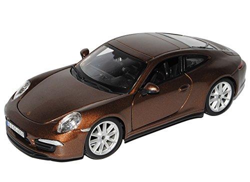 Bburago Porsche 911 991 Carrera S Coupe Braun Ab 2011 1/24 Modell Auto mit individiuellem Wunschkennzeichen