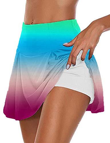 Hellomiko Tie Dye para Mujer Faldas 2 en 1 Pantalones Cortos internos Bragas de Seguridad Pantalones Cortos de Entrenamiento Pantalones Cortos de Golf Faldas de Tenis Faldas de Tenis