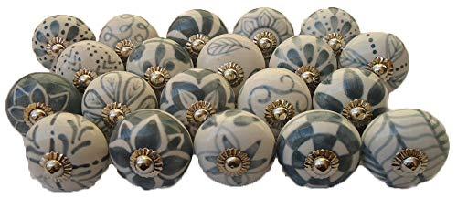 20 pomos de cerámica pintados a mano para cajón de gabinete, estilo vintage, diseño de flores, pomos de cerámica para puerta de armario (gris-2)