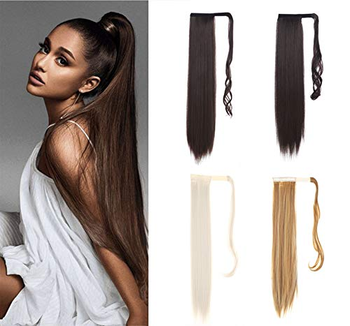 60cm Long Straight Wrap Around Clip In Ponytail Hairpieces Synthetic Fake Pony Tail Hair Extension for Women (613)