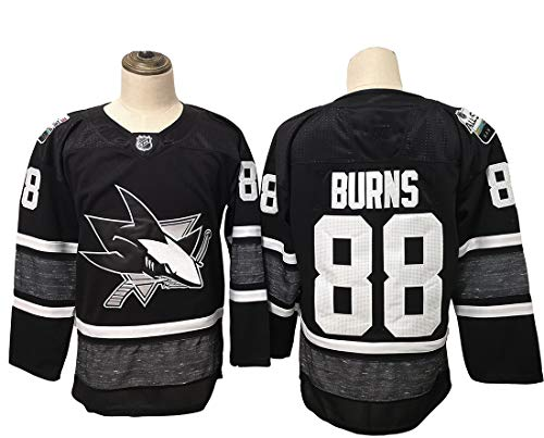 Gmjay Burns # 88 Hockey Jersey San Jose Sharks Hockey Negro Cosido Letras Números NHL Camiseta de Manga Larga,Black,XXL