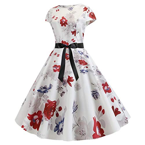 Luotuo Damen Vintage 50er Cap Sleeves Dot Einfarbig Rockabilly Swing Kleider