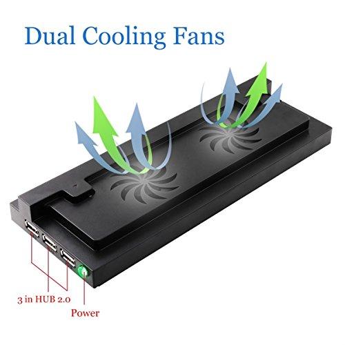 LeSB Vertical Dual Cooling Fan Stand Soporte USB Externo Montaje de Puertos para Xbox One S