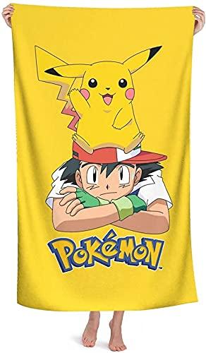 Proxiceen Pikachu - Toalla de playa 100 % microfibra, toalla de viaje Pokémon, tacto supersuave, para nadar o para el verano (Pikachu 4,70 x 140 cm)