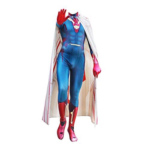 QWEASZER Disfraz de Avengers 2 de Deluxe para adultos, Disfraz de visin Traje de hombres de Cosplay Traje de lycra zentai Monos con capa y gorro,Vision-180190cm