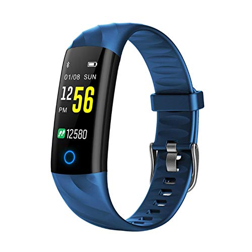 GYY Smart Watch Carey Fitness Pulsera Presión Arterial Monitor De Presión Arterial IP68 Actividad Impermeable Banda Inteligente para iOS (Color : Blue)