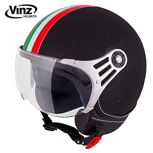 professionnel comparateur Casques de moto Vinz, Casques Jet, Casques de Scooter Italien Mode Noir, Tailles XS à XL – Casques… choix