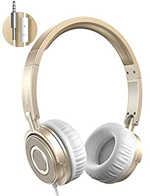 Vogek Wired Headphones with Microphone, Portable Foldable Headsets with Stereo Bass, Noise Isolating and Adjustable Headband for Home Office Travel, Gold from Vogek