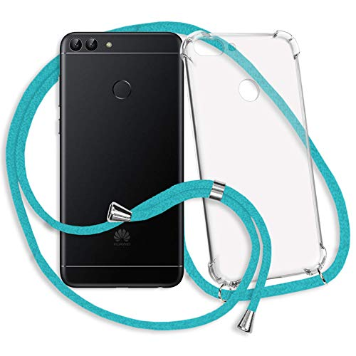 mtb more energy® Handykette kompatibel mit Huawei P smart (5.65'') - türkis - Smartphone Hülle zum Umhängen - Anti Shock Strong TPU Case