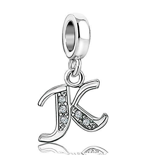 KunBead Heart Letter Initial K Charms Sister Christmas Alphabet Crystal Dangle Beads for Charm Bracelets