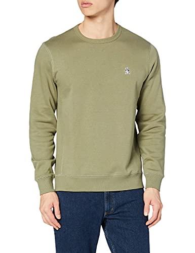 Original Penguin Neck Sweatshirt Sudadera con Logo DE Cuello Crew, 352 Verde Liquen Profundo, M para Hombre