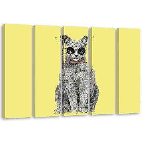 carowall CAROWALL.COM Cuadro en Lienzo Gafas de Sol 5 Partes para niños Amarillo 100x70 cm