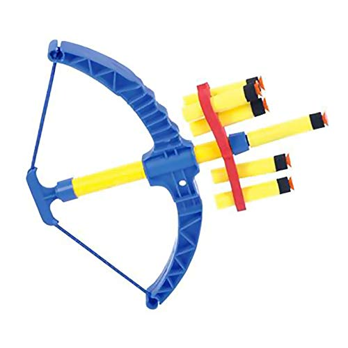 The Dreidel Company Super Bow and Arrow Archery Shooter Toy Set Includes Air Powered Bow, Barrel, Six Soft Darts, 11.5' Inches (Blue)