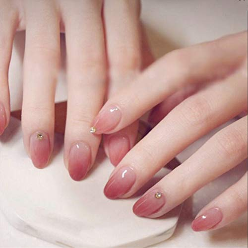 Haloty Glossy Press on Nails Red Short Gradient Christmas Fake Nails Crystal Full Cover Bling Oval Artificial False Nails for Women and Girls
