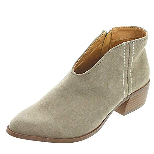 Sandalen Damen mit Absatz Leder 4 cm Blockabsatz Wildleder Geschlossene Schuhe Reissverschluss Sommer Frühling Grau 40