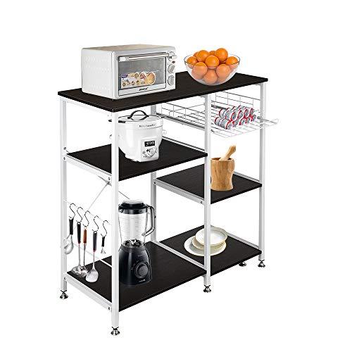 Keebgyy 35.5' Kitchen Baker's Rack Utility Storage Shelf Microwave Stand 3-Tier 3-Tier Table For Spice Rack Organizer Workstation Dark Brown