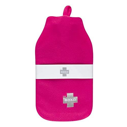 soxo Wärmflasche mit Vliesbezug, Große 1.8L (Pink)