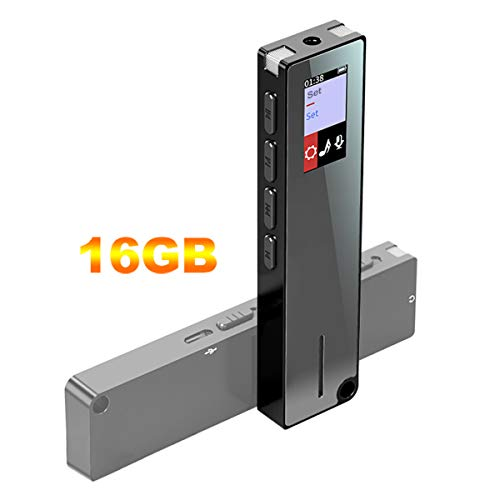 16G Digital Voice Recorder, Sindave 1536kbs Stereo Rechargeable HD Audio 16G Voice Recorder, Mini Portable USB MP3 Activated Sound Recorder and One Click Recording, Voice Activated Recorder