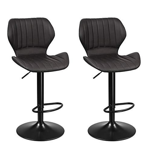 SONGMICS Barhocker, 2er Set Barstühle, Küchenstühle mit stabilem Metallgestell, Stühle mit Kunstlederbezug, Fußstütze, Sitzhöhe verstellbar, einfache Montage, Vintage, anthrazit LJB070B01