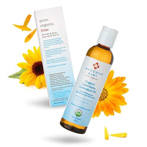 Organic Calendula Oil Fragrance Free, for Babies, Real Calendula Oil, Calendula Massage Oil Moisturizer, Hypoallergenic, Gluten-Free, 100% Biodegradable - Shoosha