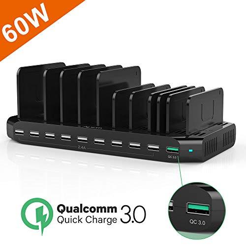 Alxum Fast Charge QC 3.0 Ladestation, 60W Multi-USB-Ladegerät mit 10 Anschlüssen für iPhone XR, iPad, Samsung Galaxy Tab, Mobiltelefon, Tablet, Schwarz