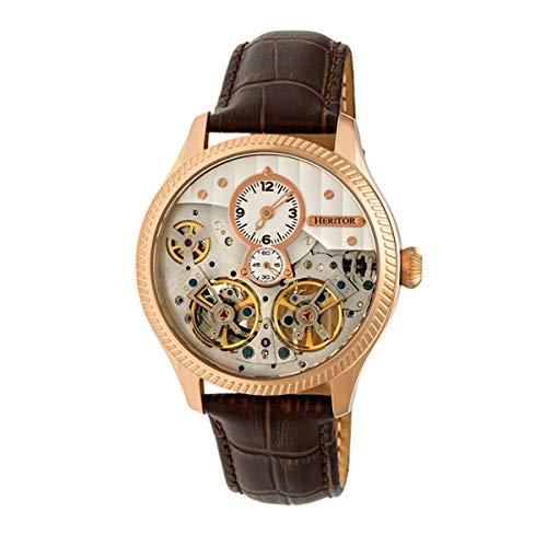 Heritor Automatic Winthrop - Reloj de pulsera de cuero con esqueleto, color oro rosa/plateado